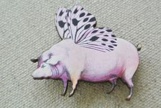 Brosche fliegendes Schwein // brooch flying pig by Bead it! via DaWanda.com