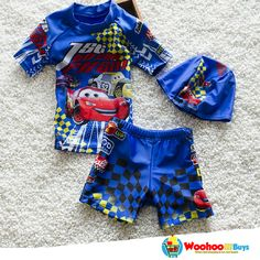 65849e32ca8ef Boys two pieces swimsuit with swimming cap blue swimwear for children short  pant/sleeves beach