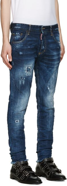 Dsquared2: Blue Distressed Skinny Jeans | SSENSE