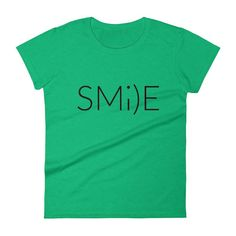 SMILE Funny Graphic Positive Energy Workout Gym Yoga WOMEN'S T-Shirt