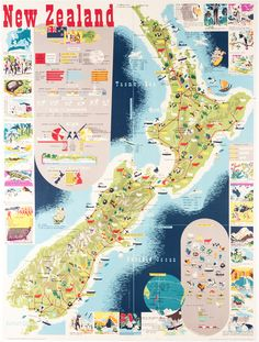 Map of New Zealand by Mallitte, H. | Vintage Posters at International Poster Gallery