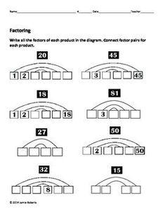 FREE! Printable Factors and Prime Numbers List Factors