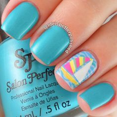 Neon Ocean Inspired Nails With Sailboat