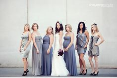 Bridesmaids with different color and style dresses.