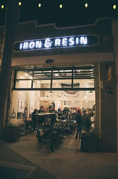 Iron and Resin 324 E Main St, Downtown… Motorcycle Workshop, Motorcycle Shop, Motorcycle Garage, Burger Bar, Garage Shop, Diy Garage, Freedom Riders, Urban Cowboy, Custom Garages