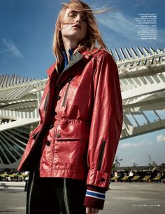 Rianne van Rompaey models red utility jacket from Louis Vuitton for Vogue magazine Russia October 2016 issue