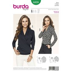 casual but smart and trendy, two t-shirts in different lengths. the wrapped effect and softly draping fronts with notched collars flatter all female figures