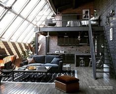 Indian Home Interior Loft Inspiration : Alex HemandezThe Definitive Source for Interior Designers.Indian Home Interior Loft Inspiration : Alex HemandezThe Definitive Source for Interior Designers Industrial Bedroom Design, Loft Interior Design, Loft Design, Industrial House, Industrial Interiors, Tiny House Design, Modern House Design, Industrial Loft Apartment, French Industrial Decor