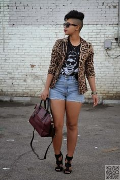 9. Pair Your High #Waisted Shorts with a #Graphic Tee and Bold Blazer for an…