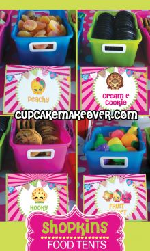 Printable Shopkins Food Labels, Buffer table decoration ideas #cupcakemakeover