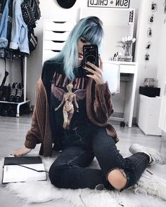 Oversized knitted jumper with Nirvana printed shirt, ripped denim jeans & sneakers by deaddsouls