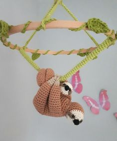 Sloth baby mobile crochet pattern, amigurumi sloth nursery mobile pattern, diy b… – Monkey Stuffed Animal Crochet Baby Mobiles, Crochet Mobile, Crochet Patterns Amigurumi, Crochet Hooks, Crochet Sloth, Baby Sloth, Fingering Yarn, Diy Baby, Crochet Projects