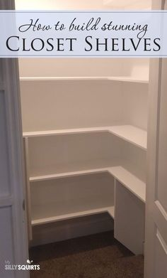 build your own stunning bedroom closet shelves Building Shelves In Closet, Wood Closet Shelves, Build A Closet, Shelves In Bedroom, Closet Storage, Build Shelves, Diy Storage, Plywood Shelves, Pantry Storage
