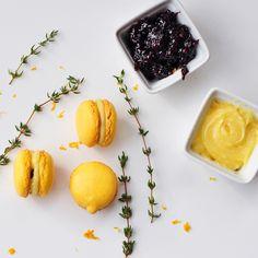 Meyer Lemon Macarons with Lemon Curd and Blackberry-Thyme-Limoncello Jam