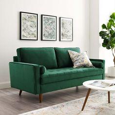 Valour Green Sofa EEI-3764-GRN Modway Furniture Fabric Sofas