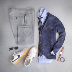 Outfit grid - Blue and grey