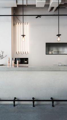 Love the simplicity of the interior in Usine restaurant, done by Richard Lindvall. The restaurant is located in a former sausage factory in Stockholm and is designed with mostly natural materials. Bistro Design, Bar Design, Design Ideas, Design Projects, Minimalist Kitchen, Minimalist Decor, Minimalist Interior, Minimalist Living, Minimalist Bedroom