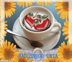 Coffee Time, Good Morning, Tea Cups, Tableware, Pictures, Night, Hairstyle, Polish Sayings, Buen Dia