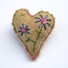 Embroidered Sweet Heart Brooch by Victoria Gertenbach