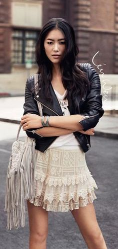 Liu Wen + leather jacket + frilly dress. Best style-spiration.