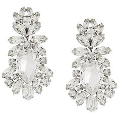 Dolce & Gabbana drop crystal clip-on earrings ($715) ❤ liked on Polyvore featuring jewelry, earrings, metallic, clip on earrings, flower jewellery, white earrings, crystal earrings and glitter earrings
