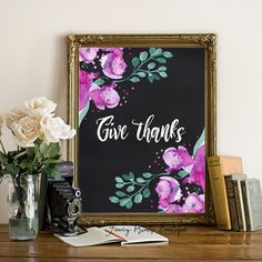 Give think printable thanksgiving art print by FancyPrintsBoutique