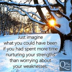 Just imagine what you could have been if you had spent more time nurturing your strengths than worrying about your weaknesses. via HeyQuotes.com
