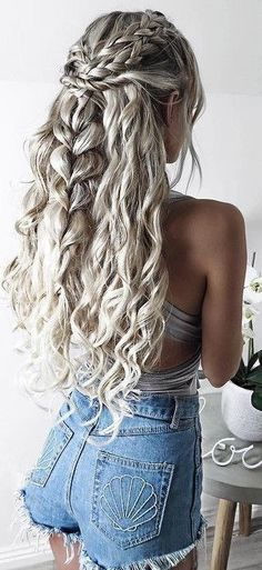 Long Hair Festival Hair Braid Wave Long Hair Hairstyle Lures Waves Braided Hair – Hair / Hairstyles - All For Hairstyles DIY Grey Curly Hair, Curly Hair Styles, Curly Hair With Braids, Braided Prom Hair, Curly Hair For Prom, Braids And Curls, Long Prom Hair, Prom Hair Styles, Long Curly Wedding Hair