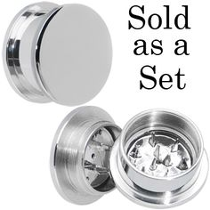 """3/4"""" Stainless Steel Herb Stash and Grinder Plug Set   Body Candy Body Jewelry"""