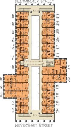 Second Floor Plan - arcade providence . a historic revival Hotel Floor Plan, House Floor Plans, Hospital Floor Plan, Lofts, Loft Style Apartments, Floor Plan Drawing, Site Plans, Apartment Plans, Cabins And Cottages