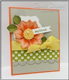 Lovely! Stampin Up! Bloom for You.  Connie Babbert for Control Freaks. Petals:  Calypso Coral stamped on Crisp Cantaloupe.  Flower Center:  Blushing Bride on So Saffron. Leaves:  Mossy Meadow on Old Olive.  Sahara Sand on Calypso Coral card base.