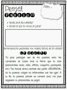 Projet passion - genius hour in French… French Articles, French Resources, French Verbs, Teaching French Immersion, Communication Orale, French Flashcards, Inquiry Based Learning, Learning Games, French Language Learning