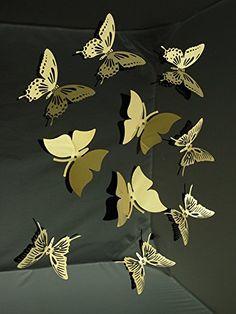 10pcs(3items) 3d Butterfly Golden Color Stainless Steel Butterfly Wall Sticker 3d Metal Wall Decor