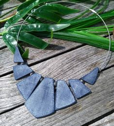 Nice necklace made of polymer clay, blue marine, imitation worn jeans. Matching earrings are available in my shop Mounted on rigid wired necklace and screw clasp Neck circumference 45 cm I make myself all pieces of polymer clay. Send protected with tracking Money back guarantee