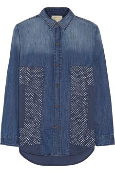Current/ElliottThe Prep School printed cady and chambray shirt
