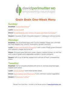 One Week Menu | David Perlmutter M.D.