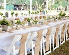 These burlap chair sashes are a great way to dress up a simple garden chair.