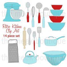 Retro Kitchen Clip Art Set.