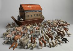 Full Hulled Noah's Ark with Original Animals (Sold by Robert Young Antiques) #FolkArt
