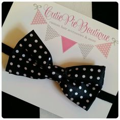 The Pampered Baby: Party planning ideas for  decorations, food and goodie bags! Bowtie by Cutie Pie Boutique #baby #girl #birthday #party #bowtie #candy #polkadots