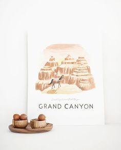 LÁMINA GRAN CAÑON 28X35CM Grand Canyon, Canon, Colorado, Place Cards, Place Card Holders, Illustrator, Tents, Illustrations, Art