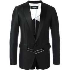 Dsquared2 'London Tux' zipped jacket ($1,380) ❤ liked on Polyvore featuring men's fashion, men's clothing, men's outerwear, men's jackets, black, mens zipper jacket, mens punk jacket, mens zip jacket and mens tuxedo jacket