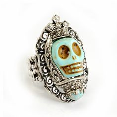 Turquoise Queen Skull Ring By Ollipop