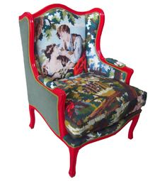 needlepoint armchair / kitsch - looks like paint -by -numbers