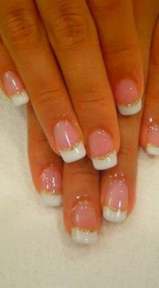 Nail Art Wedding Pictures: 35 Photo Nail Art Manicure for Wedding - Lei Trendy French Nails French Manicure Nails, Manicure Y Pedicure, Gold Nails, Gold Glitter, Manicure Ideas, Glitter Wedding, Pedicures, Sparkle Nails, Burgundy Wedding
