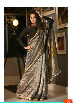 Afshii Majid in a shimmering silver and gold border saree Simple Sarees, Trendy Sarees, Stylish Sarees, Trendy Dresses, Indian Attire, Indian Outfits, Indian Wear, Golden Saree, Indian Look