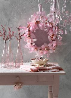 pink accents and a Pink Feather Christmas wreath