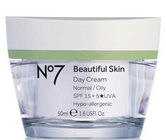 """Beautiful skin day cream normal/oily, 50 ml, 169 kronor, Boots No7 En mycket prisvärd dagkräm, som ger rikligt med fukt utan att kännas för fet. Snarare kan den upplevas som något """"blöt"""". Produkten känns mild och mjuk på känslig hy och doftar neutralt och fräscht. Extrabetyg för att den innehåller SPF 15, som skyddar mot solens farliga strålar nu i vår"""