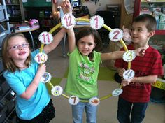 Two Can Do It: Place Value and Telling Time Hula Hoop clock, kids arms Teaching Place Values, Teaching Time, Teaching Math, Teaching Ideas, Teaching Resources, Fun Math, Math Activities, Math Games, Kinesthetic Learning