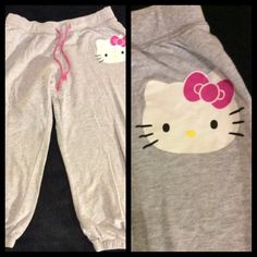 Hello Kitty Capri Pants Sweats Super Cute  Comfy. Stretchy waist. Gently used. Hello Kitty Pants Capris